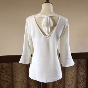 Ann Taylor Tie-Back Top with 3/4 Bell Sleeves